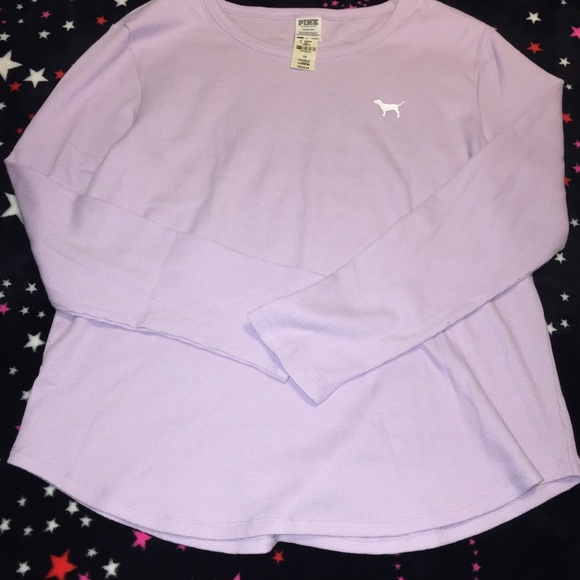 0cda4ad7814 Perfect long sleeve waffle crew tinted lilac pink. NWT. PINK Victoria's  Secret
